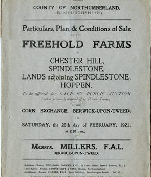 Sale of Chester Hill, Spindlestone, lands adjoining Spindlestone and Hoppen 1921