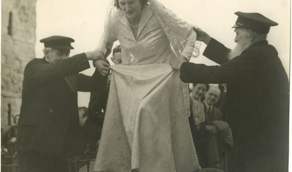 Black and white photographs of the wedding of Collin Teago to Margaret Penelope Allison of Holy Island and a written introduction