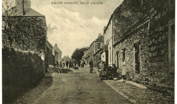 Black and white postcards of Holy Island