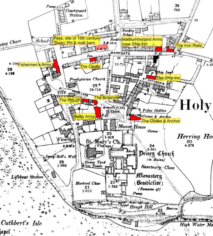 1898 O.S. map of Holy Island overlaid with the sites of Inns and Public Houses