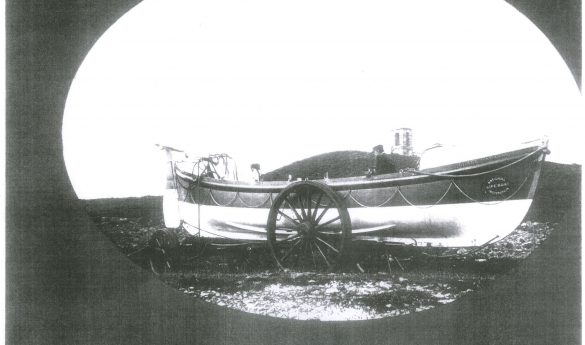 "Photograph of Holy Island lifeboat ""Grace Darling II "" on trailer"