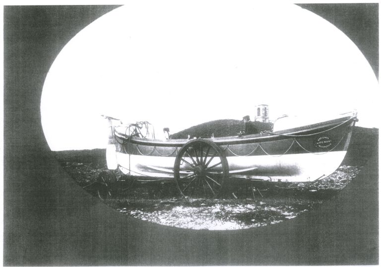 """Photograph of Holy Island lifeboat """"Grace Darling II """" on trailer"""