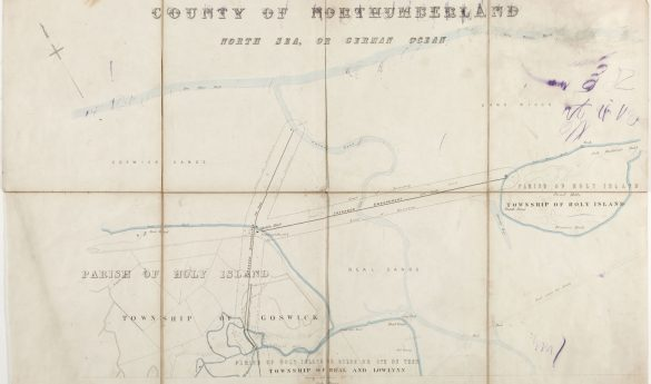 Map to illustrate plans for reclamation of land around Holy Island 1865
