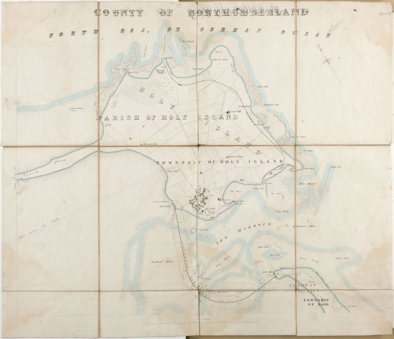 Map to illustrate plans for reclamation of land around Holy Island - Ross & Harbour