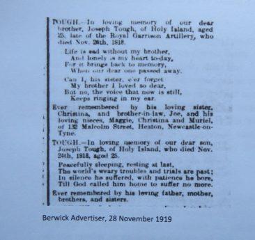 Joseph Tough | Islanders | Islandshire Archives